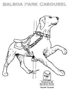 Stained Glass Carousel Horses Coloring Pages - Plus Coloring | 300x232