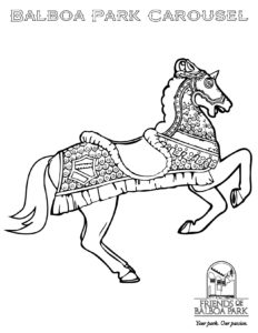 Carousel Coloring Pages | Carousel animals coloring pages | Animal ... | 300x232